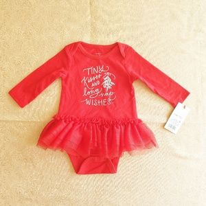 "Cat & Jack One Pieces - Nwt Baby Cat & Jack ""Tiny Kisses"" tutu bodysuit"